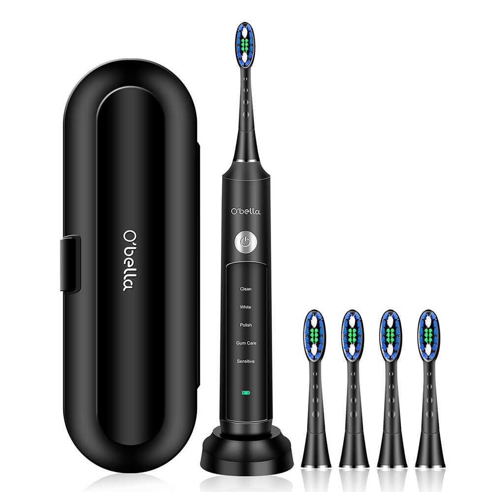 Nuevo cepillo de dientes eléctrico sónico de 48000RPM o 'bella 071B, cepillos de dientes recargables para adultos con 4 Uds. Cabezas de repuesto DuPont