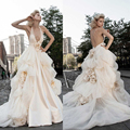 Ivory Satin Bridal Gown Halter Sleeveless Royal Train Backless Mermaid Wedding Dresses with Artificial Flowers 2015