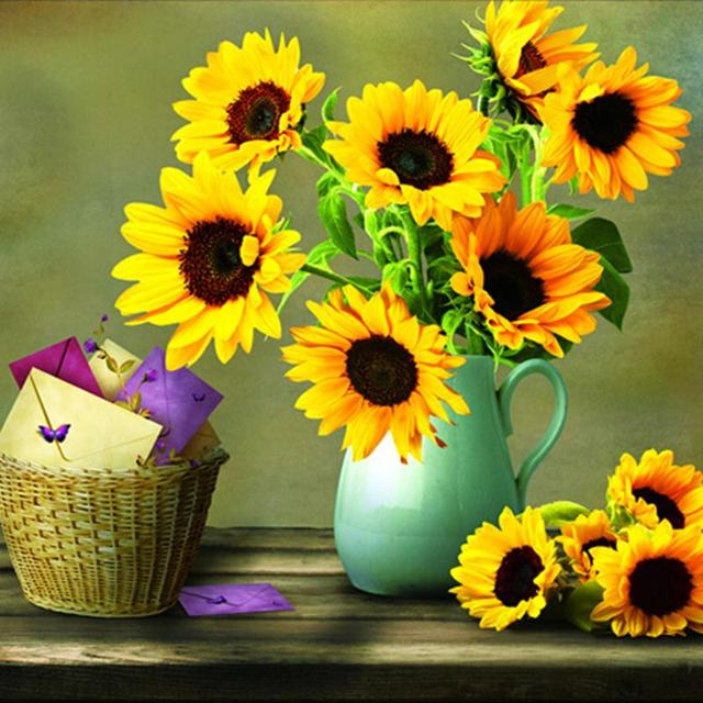 Round Diamond Painting 5d Diy Diamond Painting Embroidery Sunflower
