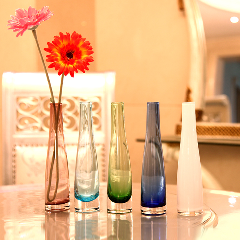 Free shipping dining table glass vase multicolour glass for Modern living room vases