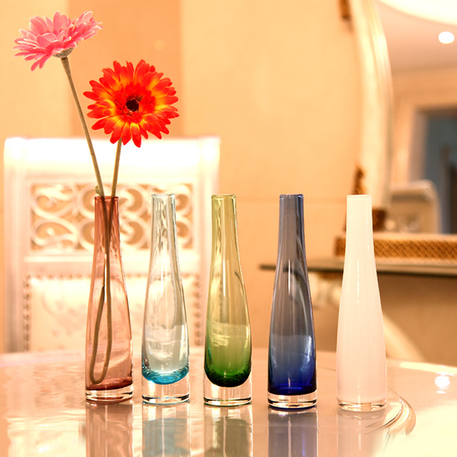 Free Shipping Dining Table Glass Vase Multicolour Glass Small Vase