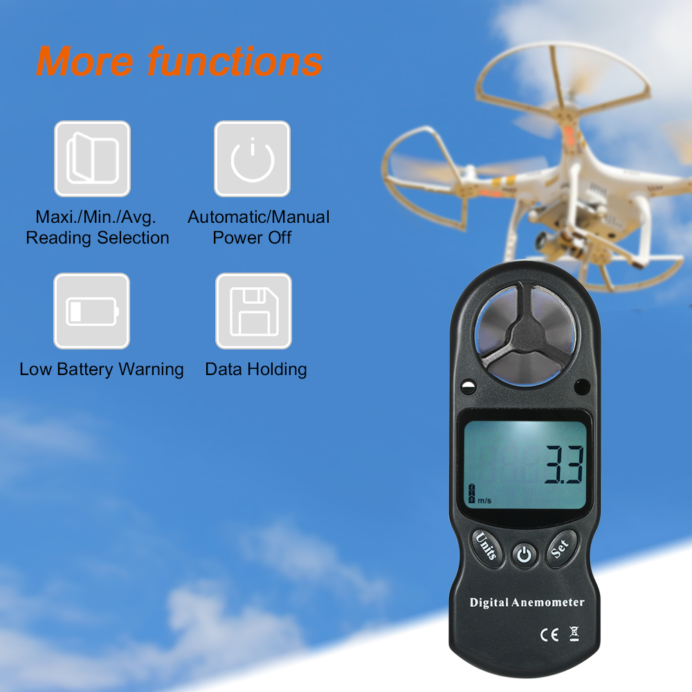 8 in 1 Handheld Digital Anemometer Wind Speed air velocity Temperature Meter with LCD Backlight--Black tl 300 digital lcd air temperature anemometer air velocity wind speed meter