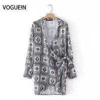VOGUEIN Yeni Bayan Seksi Çiçek Baskı Uzun Kollu Mini Kimono Elbise Toptan