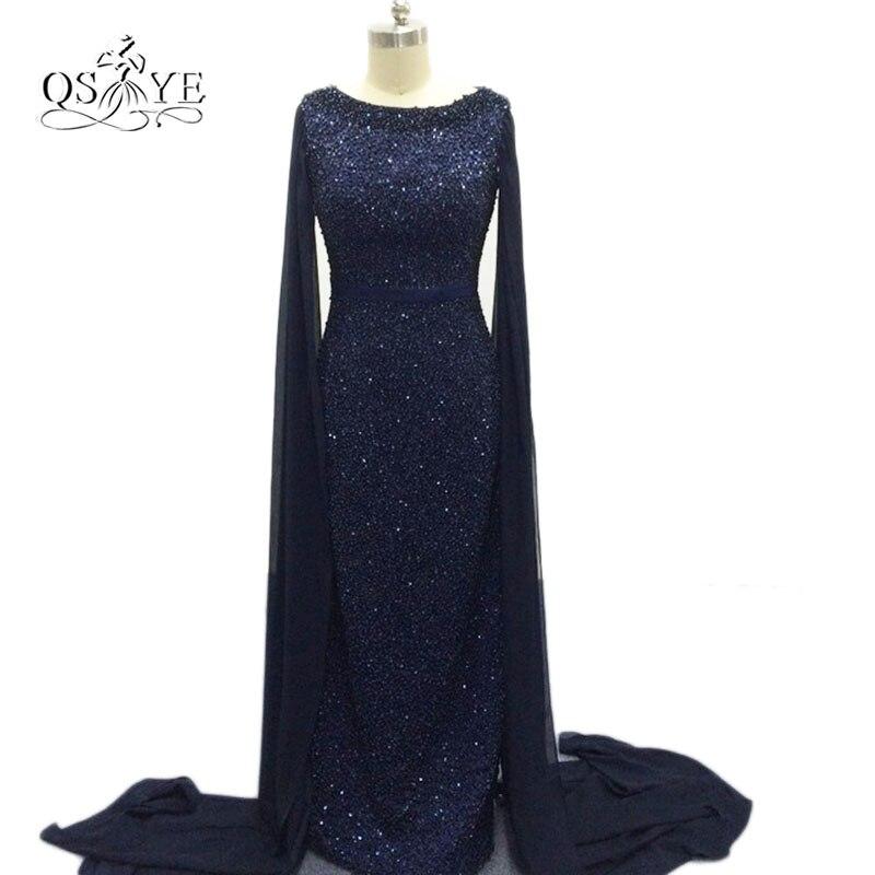 2017 Fashion Navy Blue Bling Bling Beading Mermaid Evening Dresses ...