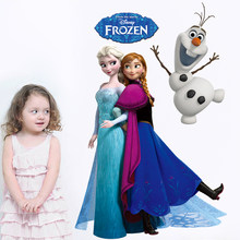 Snowman Snow White Anna Elsa Rapunzel Cinderalle Belle Princess Growth Chart 3d Wall Stickers Home Decor Kids room bedroom Decal(China)