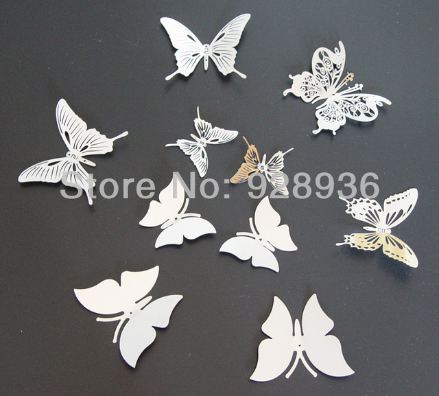 3D Butterfly Mirror Wall Stickers Metal Butterfly Wall Sticker Stainless  Butterfly Home Decor 10 Pcs/