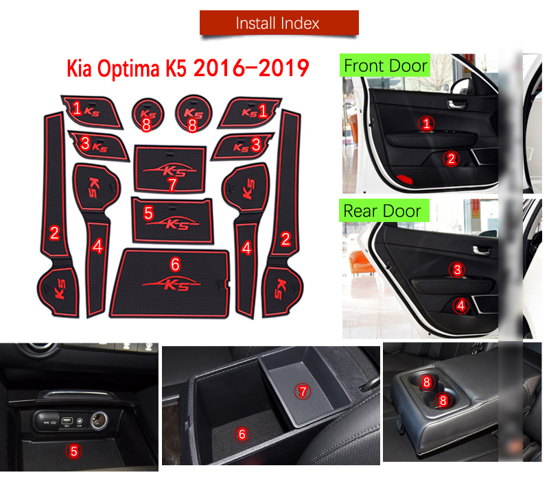 Back To Search Resultshome Smabee Gate Slot Mats For Kia Optima 2016 ~ 2019 Jf Sw 2017 2018 4th Gen Mk4 K5 Rubber Cup Holders Non-slip Mats Accessories