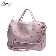 HISUELY 2017 New Large Women Shoulder Bag Fashion Printing Cherry Bag Candy Color Women Tote With Long Belt Cute Messnger Bag