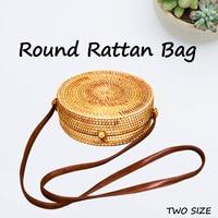 2 Size Round Straw Bag Handbags Summer Camping Outdoor Travel Walking Picnic Bags Handmade Woven Beach Handbag