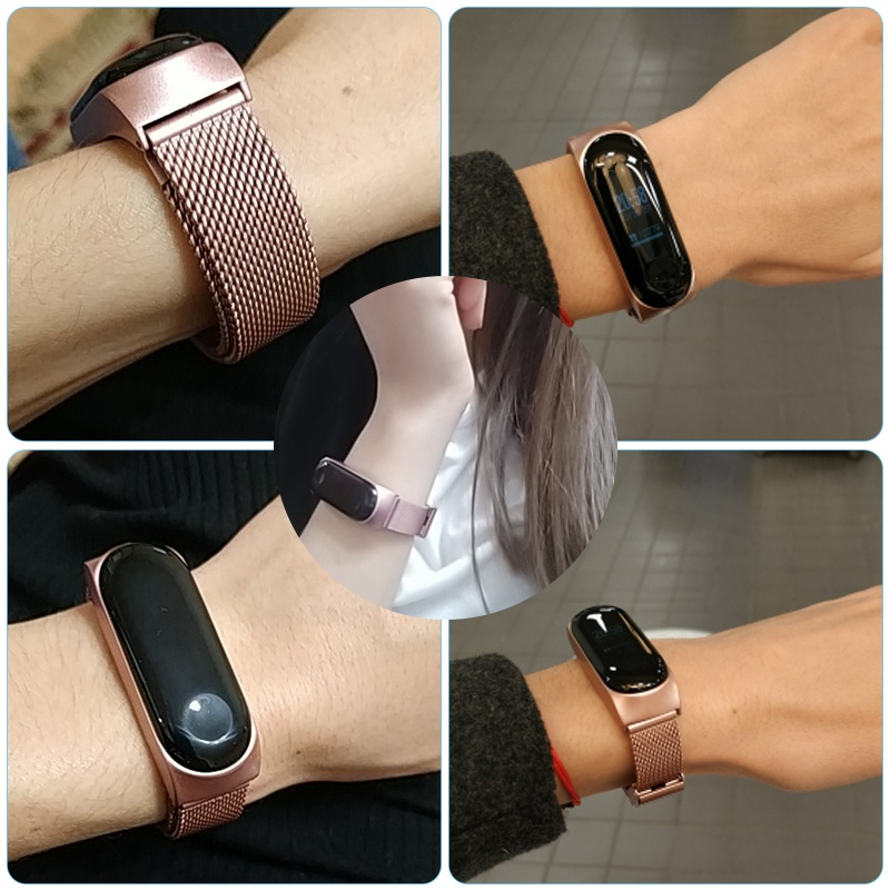 Miband 4 Metal Strap For Xiaomi Mi Band 4 Smart Stainless Steel Bracelet Replaceable Miband 3 Wristbands Watch Band With Buckle in Smart Accessories from Consumer Electronics