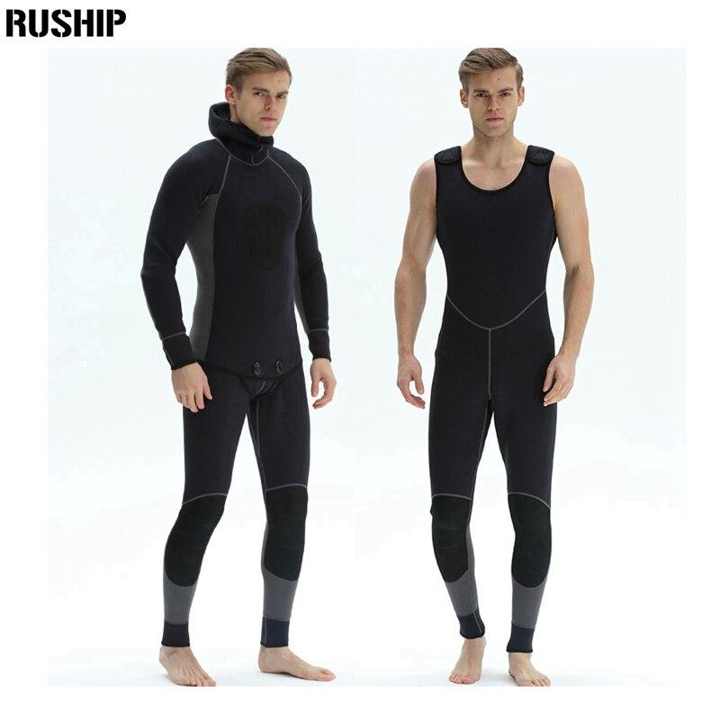 3mm Men Elastic Diving suit neoprene pesca diving spearfishing wetsuit snorkel swimsuit Split Suits combinaison hat surf wetsuit все цены