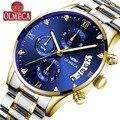 OLMECA мужские модные часы Спортивные кварцевые аналоговые Мужские военные водонепроницаемые часы Relogio Masculino из нержавеющей стали синий цвет