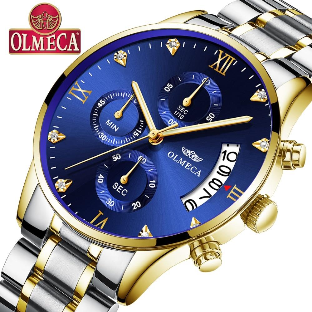 OLMECA Men's Fashion Watches Sport Quartz Analog Man Military Waterproof Watch Relogio Masculino Stainless Steel Clam Blue