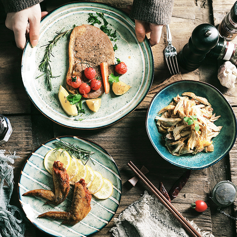 >NIMITIME <font><b>Nordic</b></font> <font><b>Style</b></font> <font><b>Ceramic</b></font> Western Steak Plate Dish Rice Bowl Home Water Cup Mug Tableware