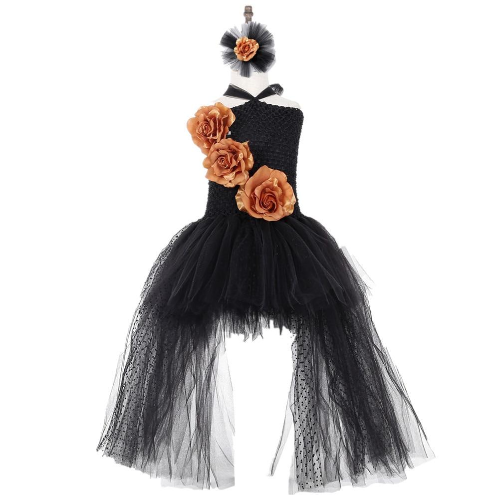 Black Polyester Mesh Polka Dot Dress with Gold Flower Wedding Dress Long Train Halloween Costumes for Teens Xmas Clothes Vestido (3)
