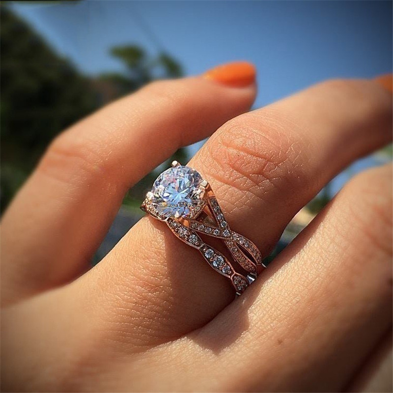 Yobest 2019 New 2 Pcs/Set Crystal Ring Set Jewelry Rose Gold Color Wedding Band Engagement Rings For Women Girls Gift
