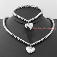 New 6mm Charming 316L Stainless Steel Silver Polished Tone Heart Gift Womens Girls Jewelry Sets Pendant
