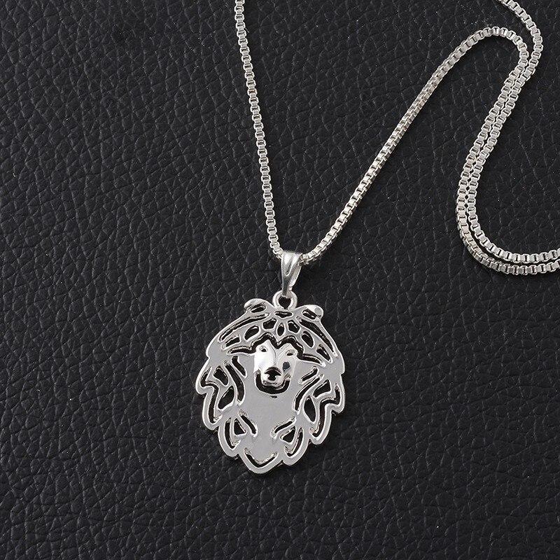 RONGQING 1 pcs Pomeranian Cão Colar de Pingente de Colar para As Mulheres  Oco Dos Desenhos Animados Lulu Da Pomerânia 581d111d6d