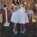 Short Gold Sequins Cheap Bridesmaid Dresses 2016 A Line Knee Length Pleats White Chiffon Capped Sleeve Maid of honor Gowns