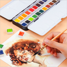 Professional 24 Colors Solid Watercolor Paints Set With Paintbrush Water color Pigment Acuarelas Verf Iron Box  Art Supplies