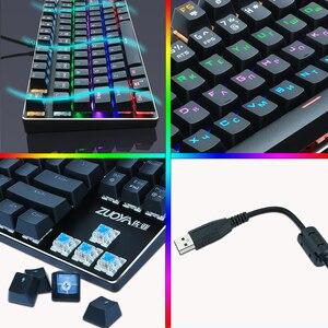 Image 5 - Oyun mekanik klavye mavi kırmızı anahtarı 87key Anti ghosting RGB/Mix arkadan aydınlatmalı LED USB RU/abd kablolu klavyesi PC Laptop