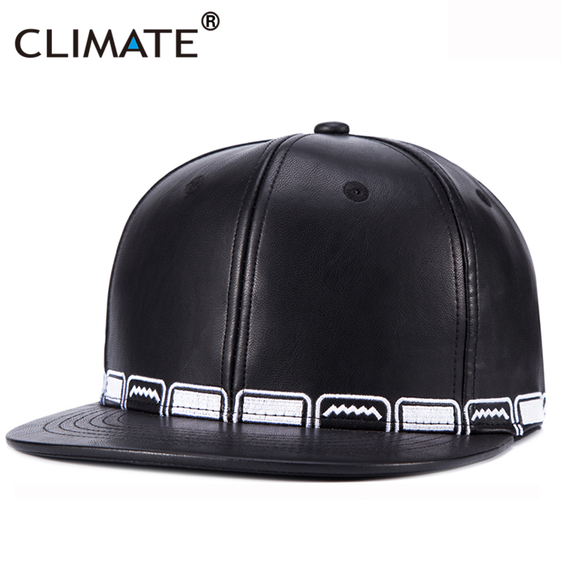 CLIMATE 2017 New PU leather Cool Black Hiphop Youth Dancer Snapback Caps Man Women Adjustable Embroidery Hiphop Baseball Hat Cap climate 2017 pocket monster go game pikachu flat snapback caps adult men women animation cartoon cute comic orange eevee hat cap