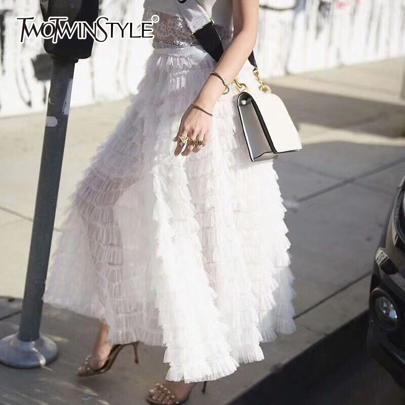 TWOTWINSTYLE Mesh Skirt For Women High Waist Elastic Bow Ruffles Patchwork Summer Maxi Skirts 2020 Female Fashion Sweet Clothing