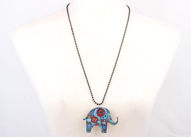 Acrylic Long Colorful Elephant Necklace