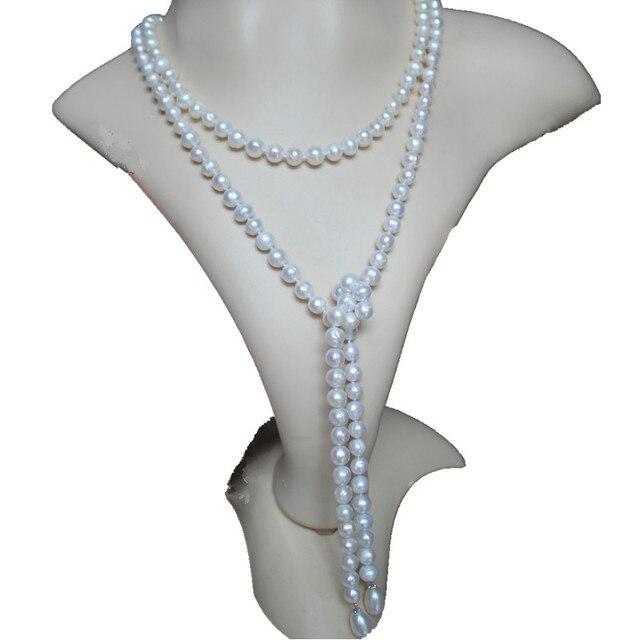 Hot sell 140cm long white freshwater pearl necklace sweater chain hot sell 140cm long white freshwater pearl necklace sweater chain variety wearing methods fashion jewelry aloadofball Gallery