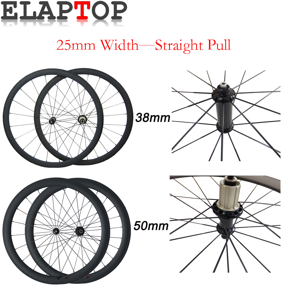 38mm 50mm Clincher Straight Pull R36 Hub 700C Wheelset 25mm Wide Carbon Wheels