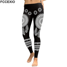 FCCEXIO New Arrival 2019 Leggings Women Mandala Flower Digital Print Fitness Leggins Elastic Workout Plus Size Pant Legging