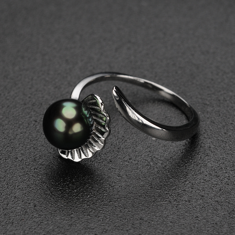 Trendy Shell Silver 925 Ring for Women Anniversary Jewelry Gifts 7 8MM Black Freshwater Pearl Rings Fine Jewelry Wholesale FEIGE in Rings from Jewelry Accessories