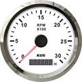 Tacômetro digital 85mm/branco faceplate moldura de aço inoxidável barco carro tacômetro 0-3000 rpm para motores a gás alta qualidade