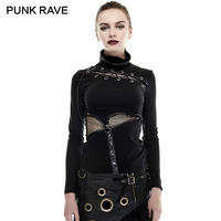 PUNK RAVE Punk Rock Steampunk High Collar Woman Tight Mask T shirts Gothic Knit Super Elastic Mesh Fabric T Shirt Tops Tees