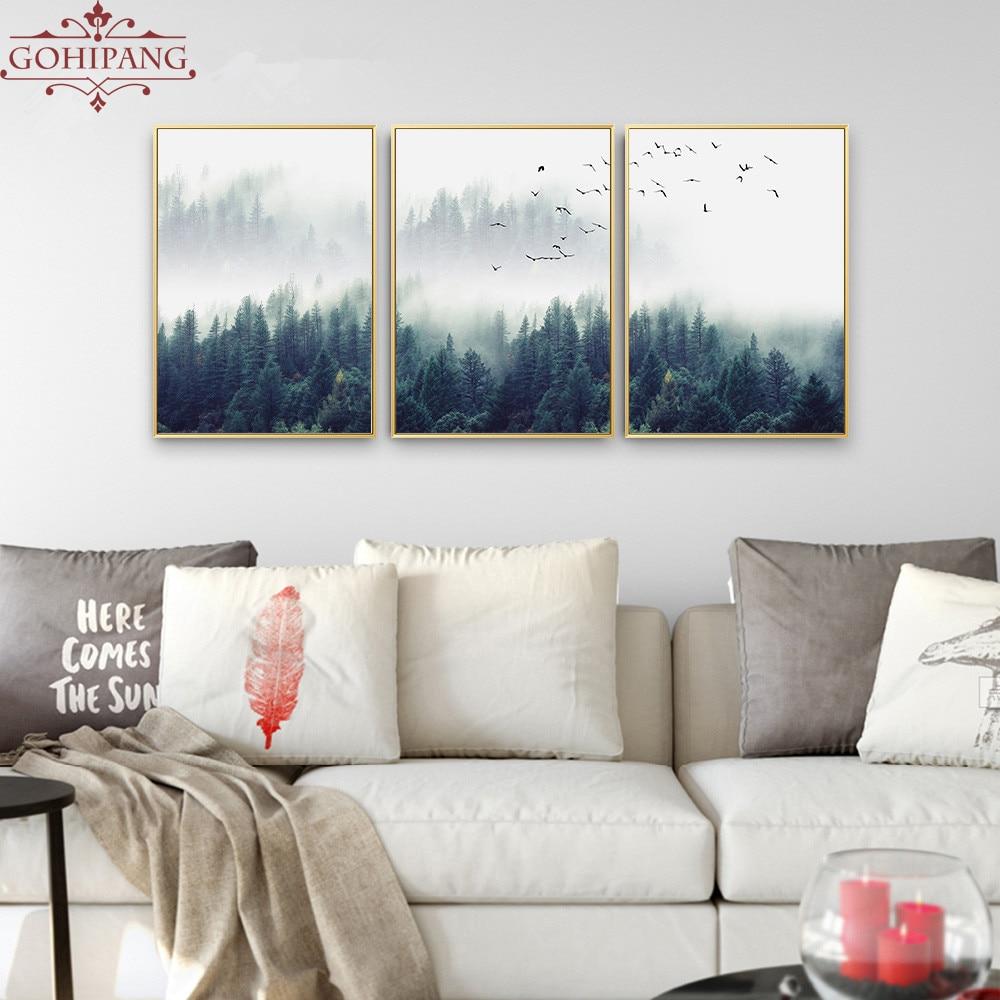 22ed8bbc88 Gohipang decoración nórdica bosque paisaje pared arte lienzo cartel e  impresión lienzo pintura cuadro decorativo para la sala