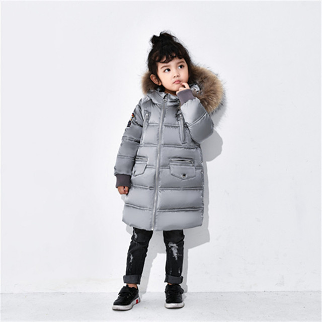 Новинка 2017 года Модный Детский пуховик зимняя куртка для девочек Обувь для мальчиков на утином пуху Пух детская верхняя одежда теплое пальто zl901