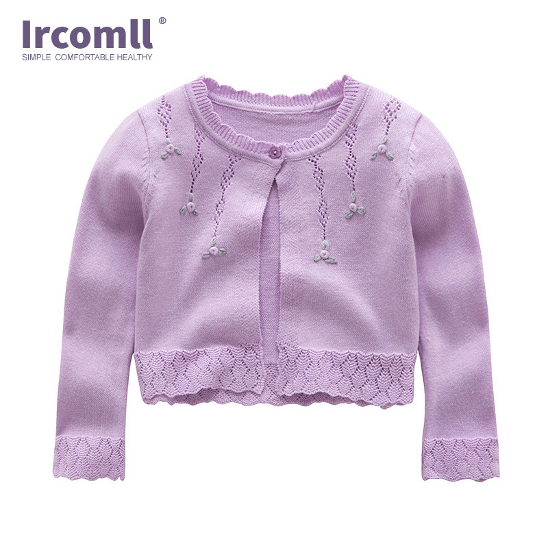 Long Sleeve Infant Baby Girls Summer Spring Cardigans Toddler Coat Kids Knitted Sweater Matching Dress Air Conditioning Shirt
