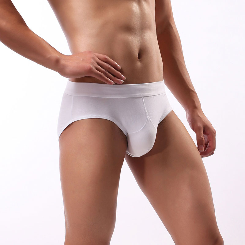 Sexy Men Plus Size Cotton Big U Convex Pouch Briefs G-string Smooth Breathable Thongs Seamless Underwear Gay Wear Low Rise F9