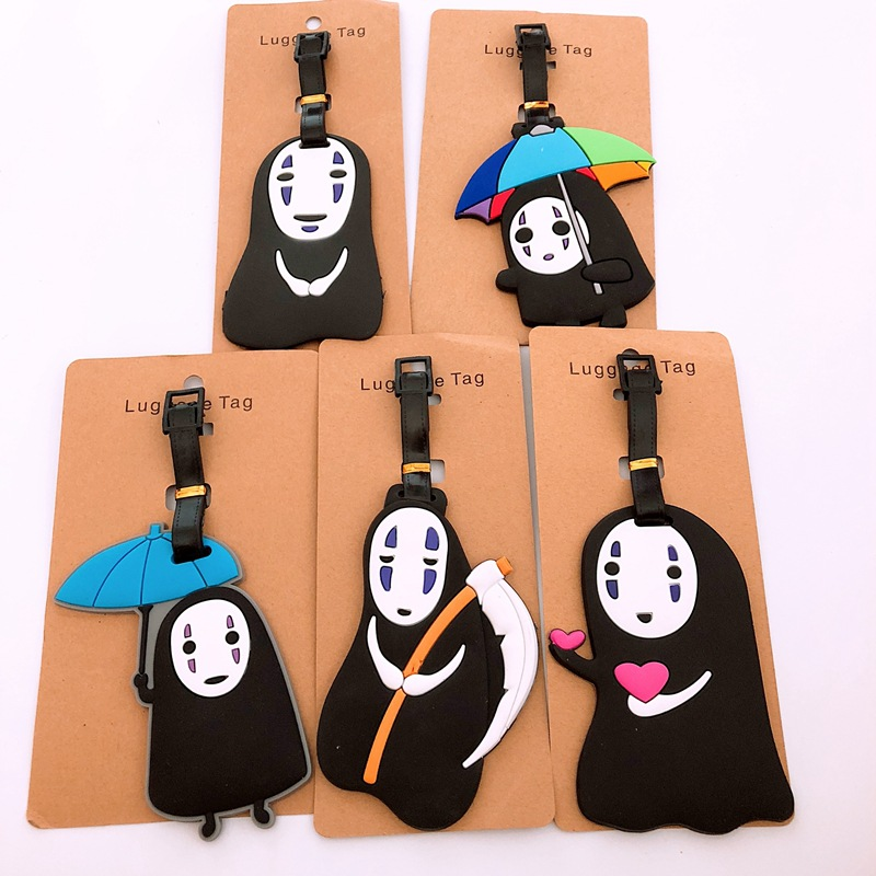 Women Men Cartoon Cute Silica Gel Luggage Tag Travel Accessories People Without Face Portable Suitcase Tag Silicon Name Labels