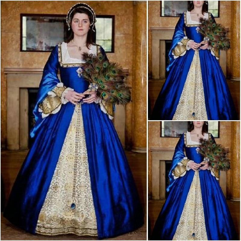 Винтажный костюм Luxs синего цвета, платье в стиле ренессанс, платье в стиле стимпанк, платье для Хэллоуина, C 1150