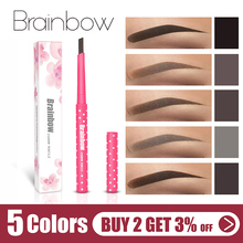 Brainbow Eyebrow Pencil Longlasting Waterproof Durable Automatic Eyebrow Liner+3 Eyebrow Shape Stencils Grooming Kit Makeup Tool