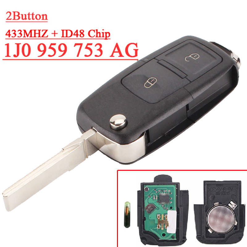 Fast shipping (1 piece) remote key 1j0 959 753AG 2 button Flip remote with 433MHZ  48 chip for vw key fast shipping 1 piece 1k0 959 753 g 3 button flip remote key with 433mhz 48 chip for vw key