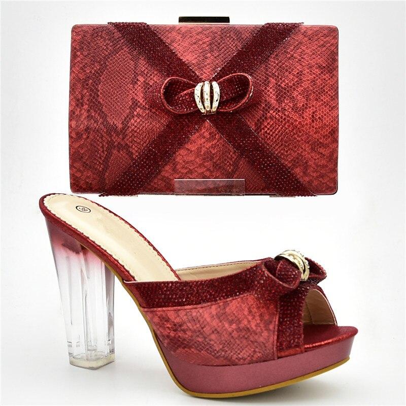 De argent Chaussures Avec Arrivée red Woen Luxe Ensemble Strass Sac Pompes Noir Parti Et pourpre or Nouvelle Africain Nigérian Décoré Femmes Designers bf7yY6g