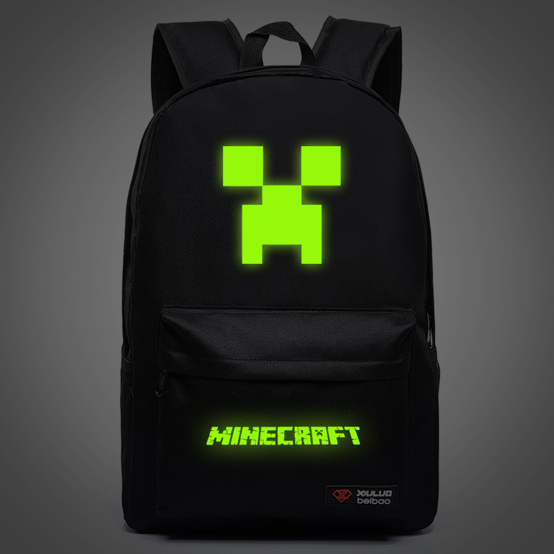 Teenagers Minecraft Backpack Children School Bags Game Night Glowing Backpacks Sac A Main Rucksacks For Boys Mochila Escolar