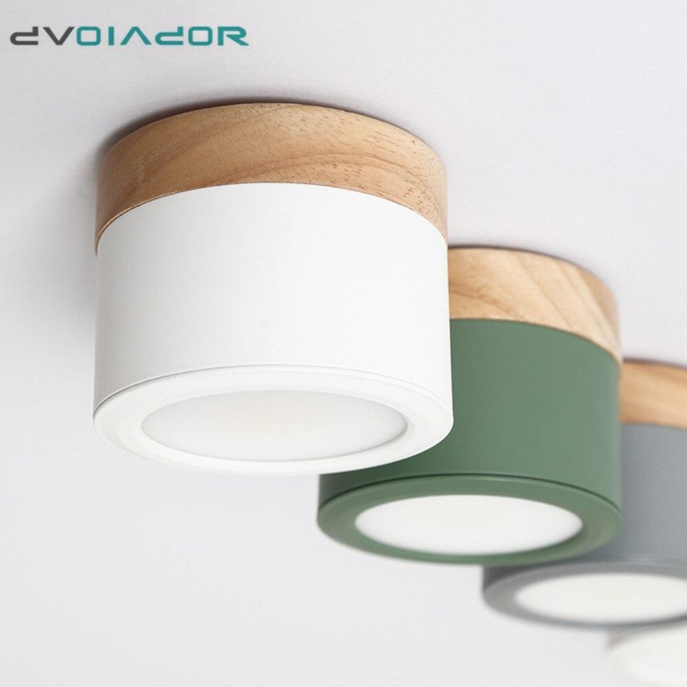 LED Downlight kısılabilir 5W 12W Led yüzeye monte tavan Downlight İskandinav demir + ahşap Spot ışık kapalı fuaye için, oturma odası