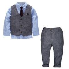 Children Clothing Kids Clothes Boys Clothes Baby Boy Suit Gentleman Fashion Wedding Formal Spring Autumn Vest Tie Shirt Pant