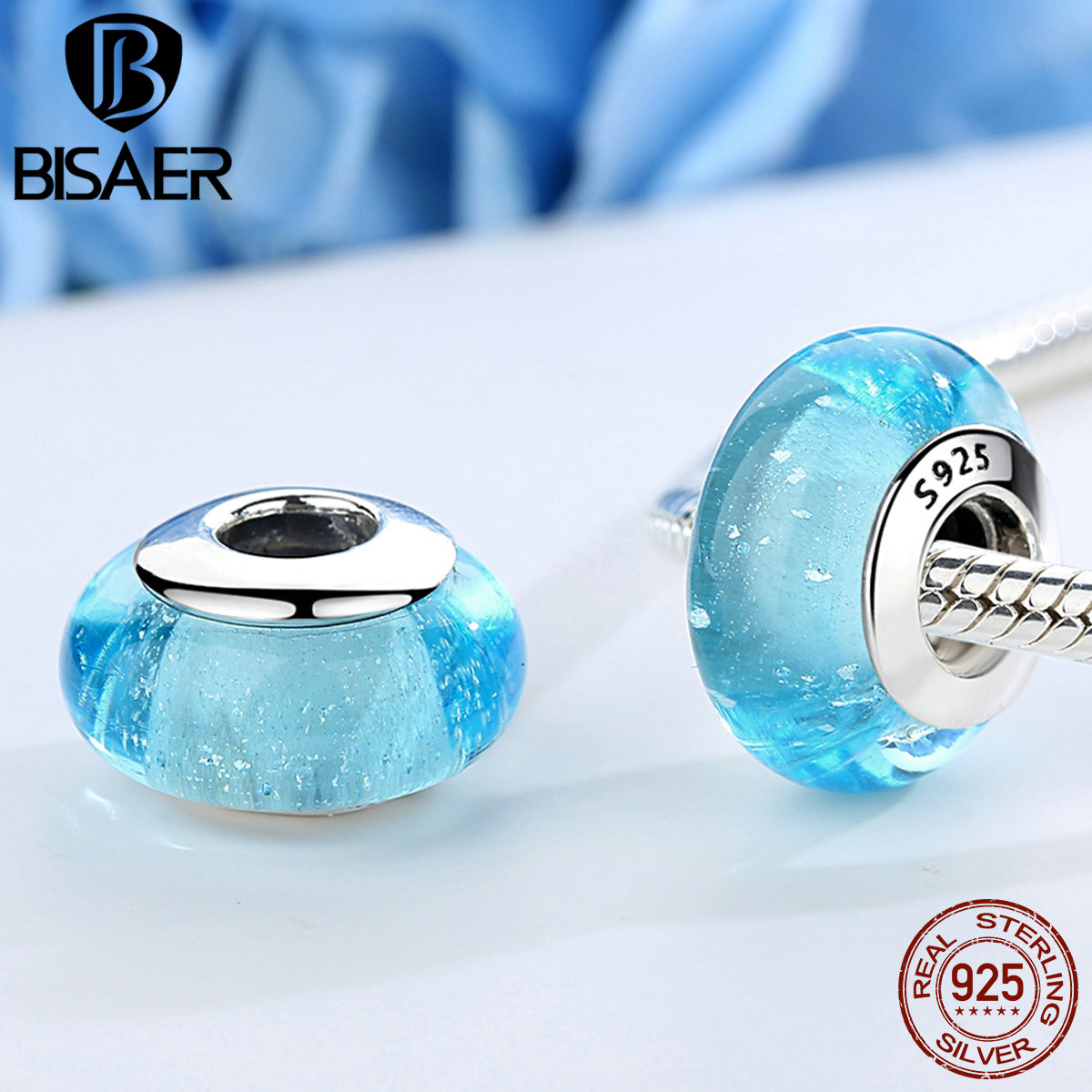 Genuine 925 Sterling Silver Elsas Signature Color Murano Glass Beads Fit PAN Charm Bracelets & Bangles Fine Jewelry S925