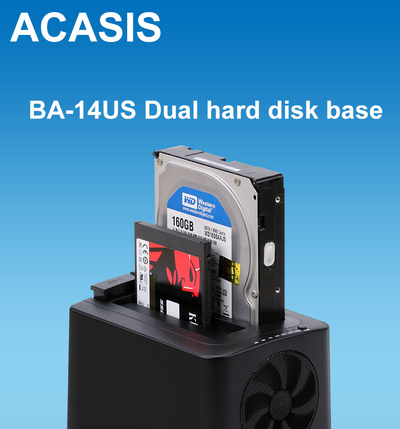 ACASIS BA-14US USB 3.0 to SATA External Hard Drive Docking Station for 2.5 inch or 3.5 inch SSD HDD Enclosure Offline cloning ugreen hdd enclosure sata to usb 3 0 hdd case tool free for 7 9 5mm 2 5 inch sata ssd up to 6tb hard disk box external hdd case