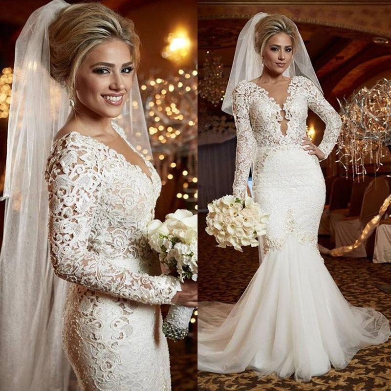 U-SWEAR 2019 New White Ivory Mermaid Wedding Dress Long Sleeves Deep V-Neck Lace Appliques Elegant Mariage Formal Wear