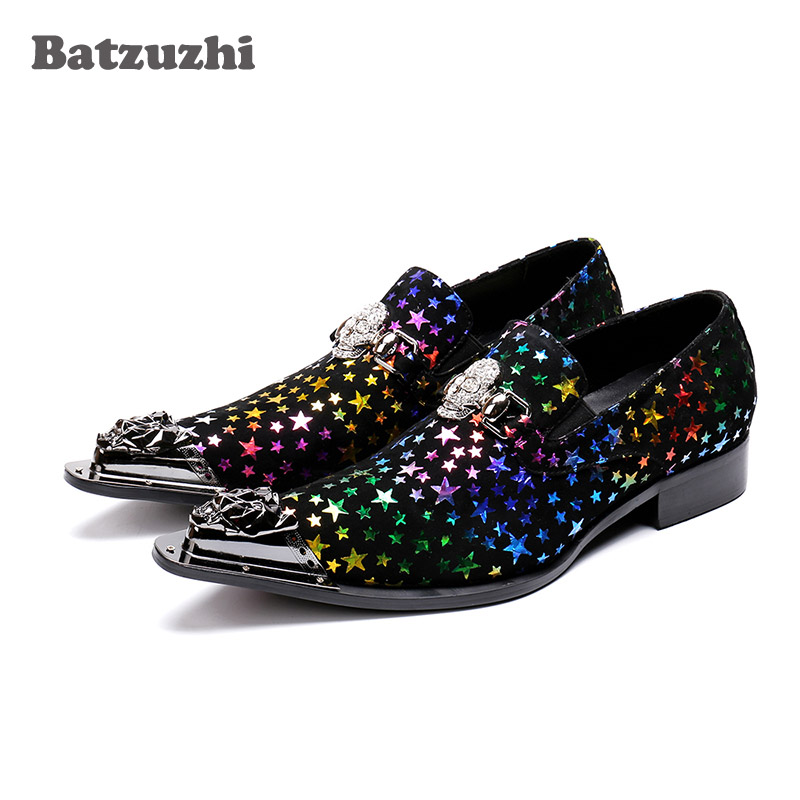 Batzuzhi Brand Italy Fashion Men Dress Shoes Pointed Metal Tip Muti Rock Party Shoes Men Zapatos Hombre,Big Sizes US6-US12 big italy